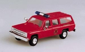 Trident Miniatures Fire Chief Chevrolet Suburban Red -- HO Scale Model Railroad Vehicle -- #90111