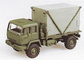Trident M1079 2.5-Ton Single-Axle Flatbed w/S-280 Shelter Load HO Scale Model Railroad Vehicle #90125