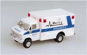 Trident Miniatures Ambulance Mercy Paramedics w/Chevy Van Cab -- HO Scale Model Railroad Vehicle -- #90130
