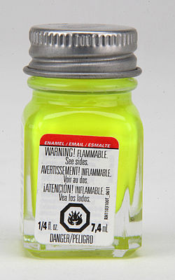 Testors Yellow Fluorescent 1/4 oz -- Hobby and Model Enamel Paint -- #1177tt