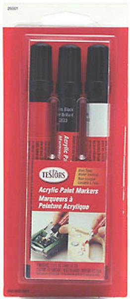 Testors (bulk of 6) Acrylic Paint Marker Set (Red, White, Black) (Bulk of 6) -- Hobby Paint Marker -- #26001