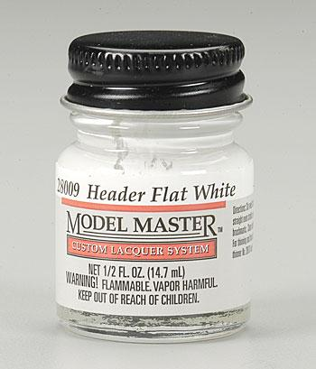 Testors Model Master Header Flat White 1/2 oz -- Hobby and Model Lacquer Paint -- #28009