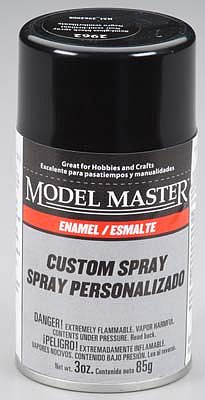 Testors Model Master Spray Black Semi-Gloss 3 oz -- Hobby and Model Enamel Paint -- #2962