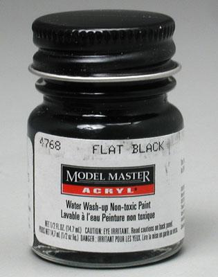 Testors Model Master Flat Black GS37038 1/2 oz -- Hobby and Model Acrylic Paint -- #4768
