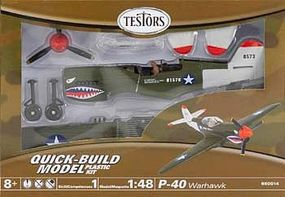 Testors P-40 Snap Tite Plastic Model Airplane with Metal Body 1/48 Scale #650014t