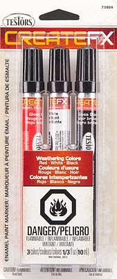 Testors Create FX Enamel Paint Marker Set (Red, White, Black) -- Hobby Paint Marke -- #73804