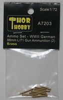 Thor WWII German 88mm L/71 Gun Brass Ammo Set #2 Plastic Model Military Weapon 1/72 #7203