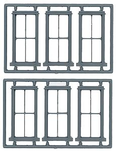 Tichy Train Group 2/2 Double Hung Window 6 pieces -- O Scale Model Railroad Building Accessory -- #2014
