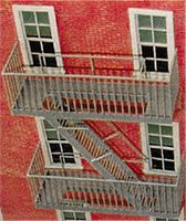 Tichy-Train Classic Fire Escape - Kit (Plastic) O Scale Model Railroad Building Accessory #2044