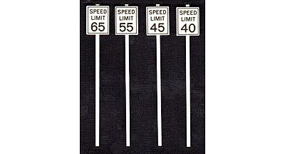 Tichy Train Group High Speed Limit Signs (8) -- O Scale Model Railroad Roadway Signs -- #2065