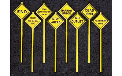 Tichy Train Group Written Warning Signs (8) -- O Scale Model Railroad Roadway Signs -- #2077