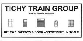 Tichy-Train 80-Piece Window & Door Assortment N Scale Model Railroad Building Accessory #2522