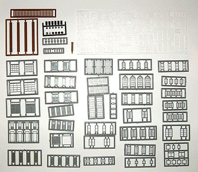 Tichy Train Group Windows, Doors & Parts Assortment (164) -- N Scale Model Railroad Building Accessory -- #2540