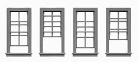 Tichy-Train 4/4 Double Hung Window (12) HO Scale Model Railroad Building Accessory #8069