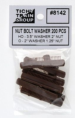 Tichy Train Group 2'' Nut Bolt w/3.5'' Washer (200) -- HO Scale Model Railroad Building Accessory -- #8142
