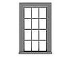 Tichy-Train 6/6 Double Hung Window w/Glazing & Shades HO Scale Model Railroad Building Accessory #8217