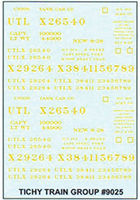Tichy-Train Decal Set UTLX for 36 10,000-Gallon USRA Tank Cars HO Scale Model Railroad Train Decal #9025