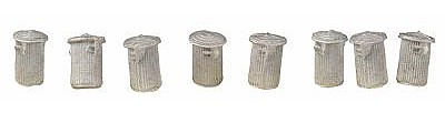 The N Scale Architect Trash Cans w/Lids - pkg(8) -- HO Scale Model Railroad Building Accessory -- #20049