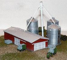 N-Scale-Arch Modern Barn & Grain Silo Box Set Z Scale Model Railroad Building #30004