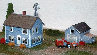 The N Scale Architect Farm House, Carriage Shed & Windmill Box Set -- N Scale Model Railroad Building -- #30007