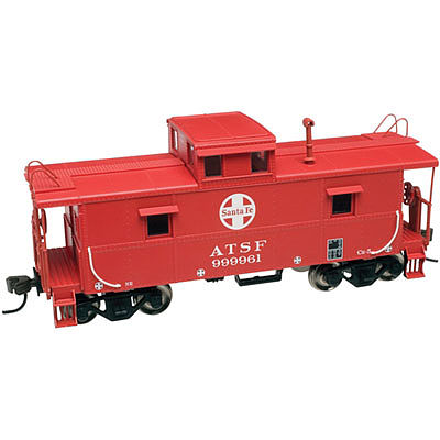 Atlas Trainman C&O-Style Steel Center-Cupola Caboose Santa Fe -- HO Scale Model Train Freight Car -- #20003013