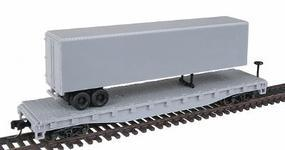 Trainman 50 Flatcar w/40 Trailer - Ready to Run - Undecorated N Scale Model Train Freight Car #3770