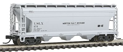 Atlas Trainman ACF(R) 3560 Center Flow Covered Hopper Morton Salt -- N Scale Model Train Freight Car -- #50000914