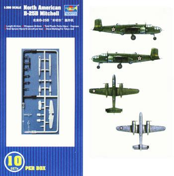 Trumpeter B-25B Mitchell Aircraft Carrier Fleet (10) -- Plastic Model Airplane Kit -- 1/350 Scale -- #06201