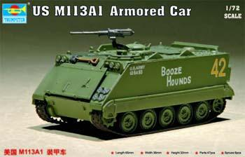 Trumpeter US M113A1 Armored Car -- Plastic Model Military Vehicle Kit -- 1/72 Scale -- #07238