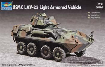 Trumpeter USMC LAV-25 8x8 Light Armored Vehicle -- Plastic Model Military Vehicle Kit -- 1/72 Scale -- #07268