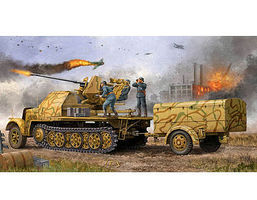 Trumpeter German SdKfz 7/2 Halftrack with Gun and Supply Trailer Plastic Model Kit 1/35 Scale #1526