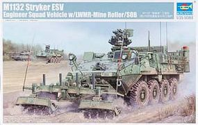 Trumpeter M1132 Stryker Engineer Squad Vehicle w/LWMR Mine Roller/SOB 1/35 Model Military Kit #1574