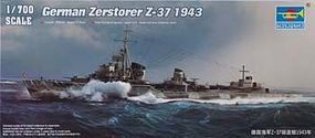 Trumpeter German Zerstorer Z-37 Destroyer 1943 Plastic Model Military Ship 1/700 Scale #5791