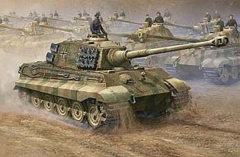 Trumpeter German King/Tiger Tank -- Plastic Model Military Vehicle -- 1/16 Scale -- #910