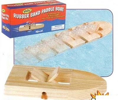 Toysmith Rubber Band Pwd Wooden Paddleboat