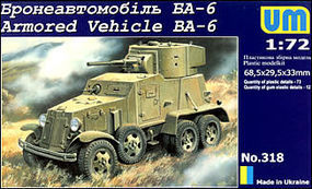 Unimodels BA6 Russian Armored Vehicle Plastic Model Military Truck Kit 1/72 Scale #318