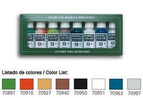 Vallejo 17ml Bottle Wargames Basics Model Color Paint Set (8 Colors) Hobby and Model Paint Set #70103