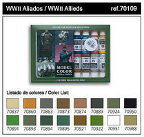 Vallejo 17ml Bottle WWII Allied Model Color Paint Set (16 Colors) Hobby and Model Paint Set #70109