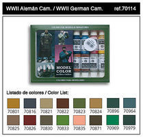 Vallejo WWII German Camouflage Model Color Paint Set 17ml Bottle Hobby and Model Paint Set #70114