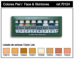 Vallejo Face & Skin Tones Model Color Paint Set (8 Colors) Hobby and Model Paints #70124