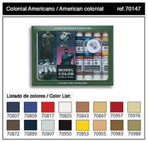 Vallejo American Colonial Model Color Paint Set (16 Colors) Hobby and Model Paint Set #70147