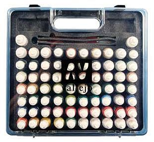 Vallejo Acrylic Paints Basic Model Paint Set/Plastic Storage Case (72 Colors & Brushes) -- Hobby and Model Paint -- #70172