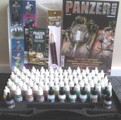 Vallejo Acrylic Paints Panzer Aces Paint Set/Plastic Storage Case (72 Colors & Brushes) -- Hobby and Model Paint -- #70174