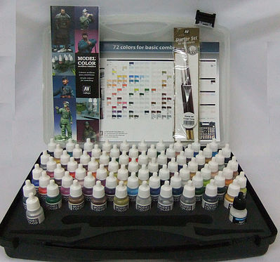 Vallejo Acrylic Paints BASIC MODEL COLOR COMBO SET (72 Colors & Brushes) -- Hobby and Model Paint Set -- #70175