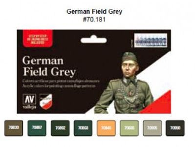 Vallejo Acrylic Paints German Field Grey Uniform Model Color Paint Set (8 Colors) -- Hobby and Model Set -- #70181