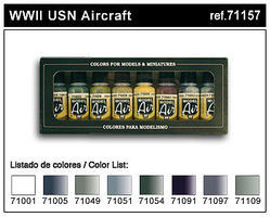 Vallejo WWII USN Aircraft Model Air Paint Set (8 Colors) Hobby and Model Paint Set #71157