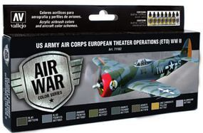 Vallejo US Army Air Corps European Theater Operations Paint Set Hobby and Model Paint #71182