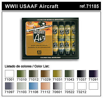 WWII USAAF Model Air Paint Set (16 Colors) Hobby and Model Paint Set ...