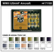 Vallejo WWII USAAF Model Air Paint Set (16 Colors) Hobby and Model Paint Set #71185