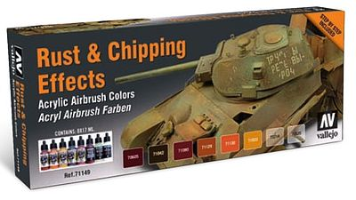 Vallejo Acrylic Paints Rust & Chipping Effects Model Air Paint Set (8 Colors) -- Hobby and Model -- #71186